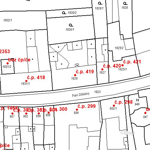 Katastrální mapa Stavební objekt Česká Lípa 419, Česká Lípa