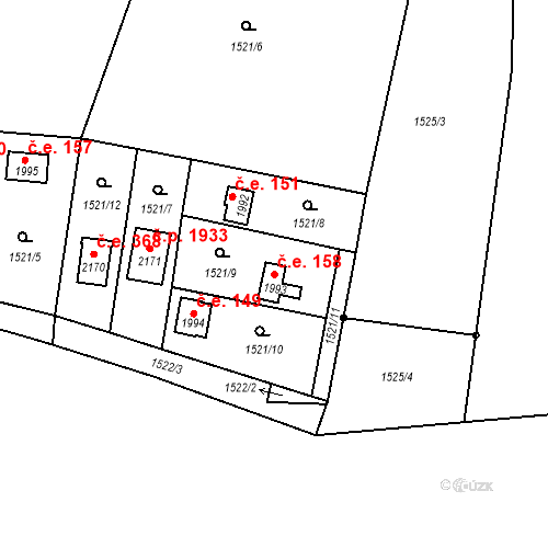 Katastrální mapa Stavební objekt Říčany 158, Říčany