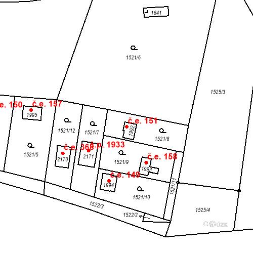 Katastrální mapa Stavební objekt Říčany 151, Říčany