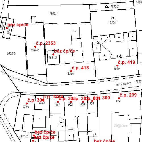 Katastrální mapa Stavební objekt Česká Lípa 418, Česká Lípa