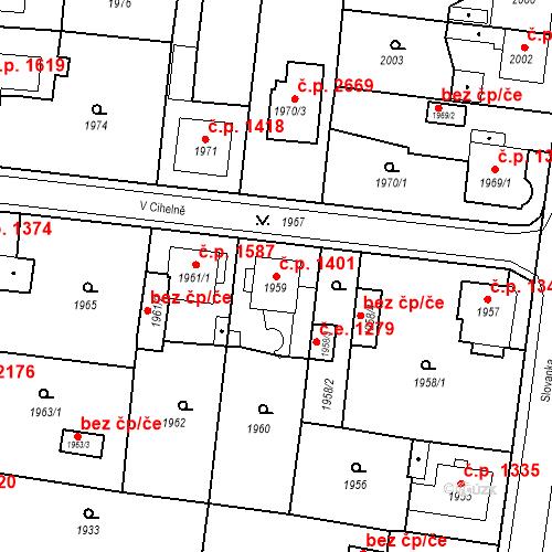 Katastrální mapa Stavební objekt Česká Lípa 1401, Česká Lípa