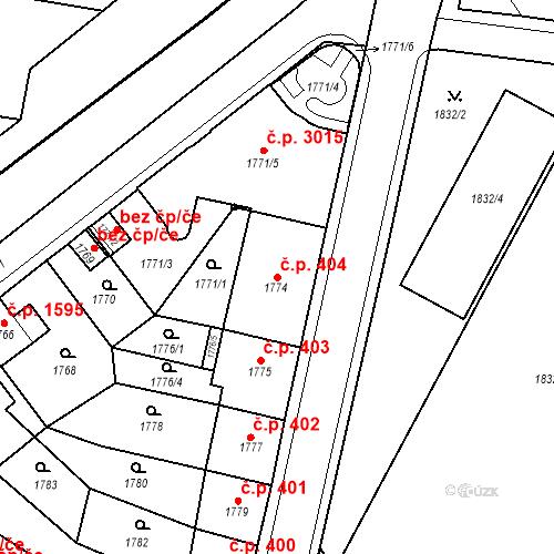 Katastrální mapa Stavební objekt Česká Lípa 404, Česká Lípa