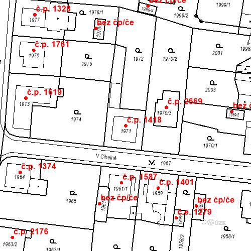 Katastrální mapa Stavební objekt Česká Lípa 1418, Česká Lípa