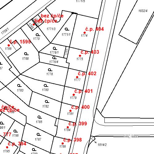 Katastrální mapa Stavební objekt Česká Lípa 402, Česká Lípa