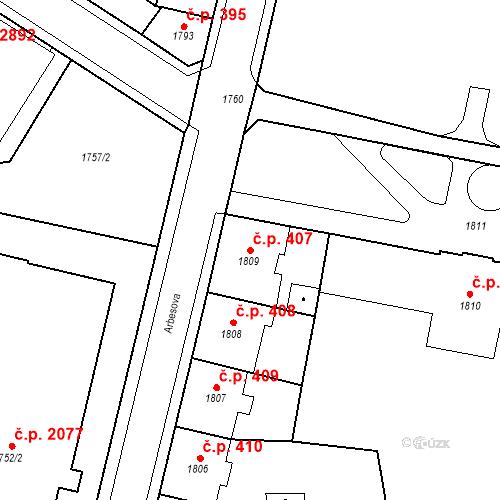 Katastrální mapa Stavební objekt Česká Lípa 407, Česká Lípa