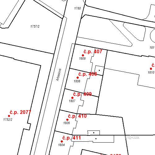Katastrální mapa Stavební objekt Česká Lípa 408, Česká Lípa