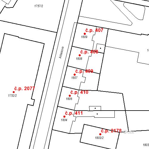 Katastrální mapa Stavební objekt Česká Lípa 409, Česká Lípa
