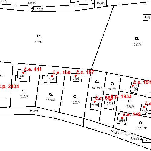 Katastrální mapa Stavební objekt Říčany 157, Říčany