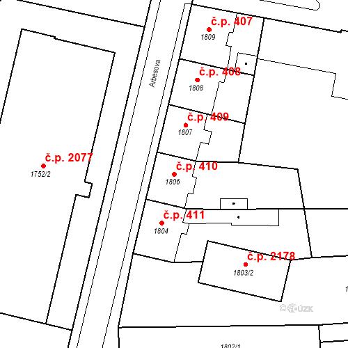 Katastrální mapa Stavební objekt Česká Lípa 410, Česká Lípa