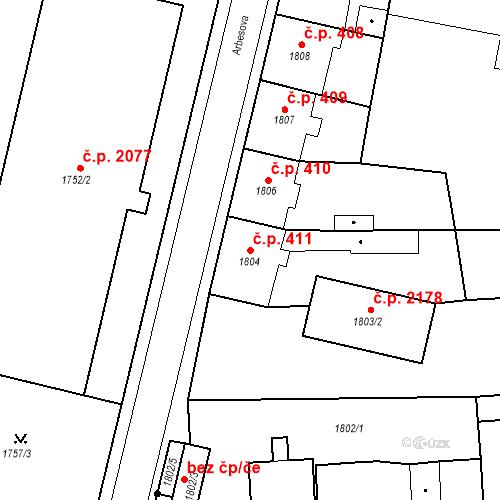 Katastrální mapa Stavební objekt Česká Lípa 411, Česká Lípa