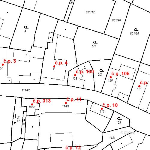 Katastrální mapa Stavební objekt Byšice 160, Byšice