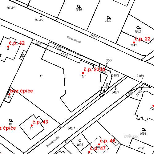 Katastrální mapa Stavební objekt Újezd nad Lesy 2300, Praha