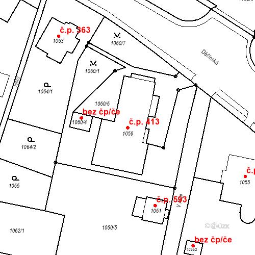 Katastrální mapa Stavební objekt Česká Lípa 413, Česká Lípa