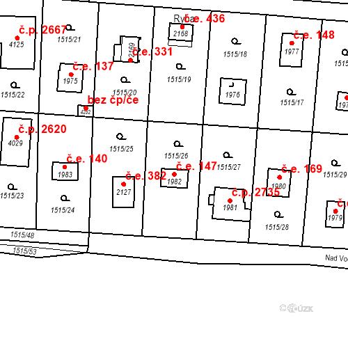 Katastrální mapa Stavební objekt Říčany 147, Říčany