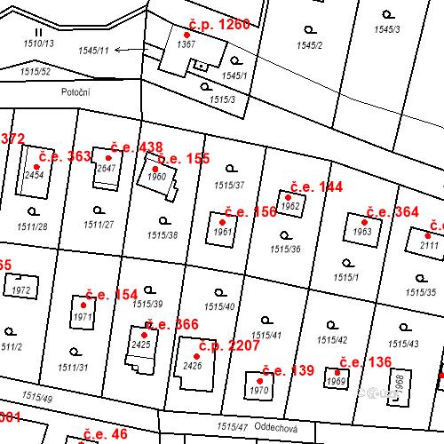 Katastrální mapa Stavební objekt Říčany 156, Říčany