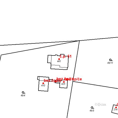 Katastrální mapa Stavební objekt Dolní Lomnice 51, Kunice
