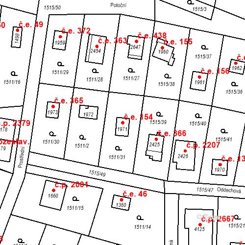 Katastrální mapa Stavební objekt Říčany 154, Říčany