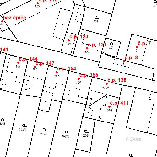 Katastrální mapa Stavební objekt Byšice 155, Byšice