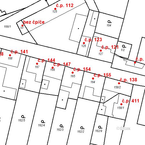Katastrální mapa Stavební objekt Byšice 154, Byšice