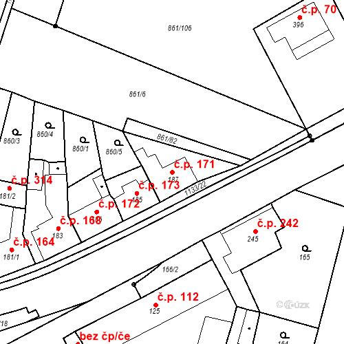Katastrální mapa Stavební objekt Byšice 171, Byšice