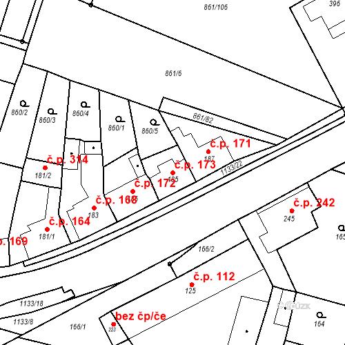 Katastrální mapa Stavební objekt Byšice 173, Byšice