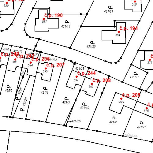 Katastrální mapa Stavební objekt Tehov 244, Tehov