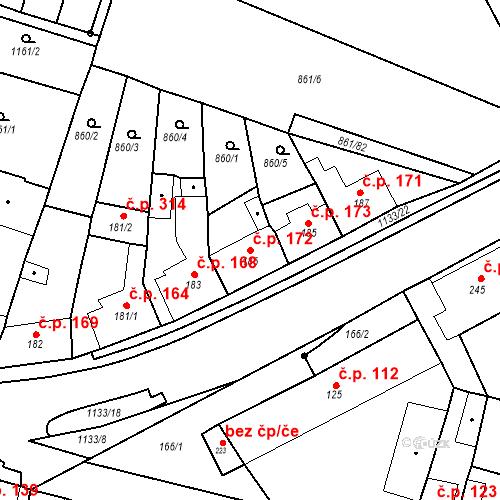 Katastrální mapa Stavební objekt Byšice 172, Byšice