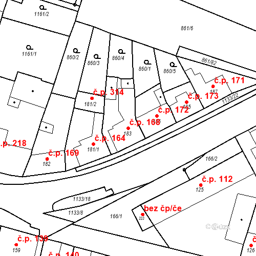 Katastrální mapa Stavební objekt Byšice 168, Byšice