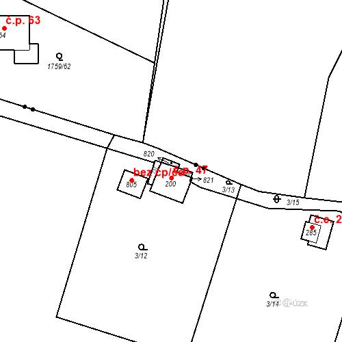 Katastrální mapa Stavební objekt Dolní Lomnice 47, Kunice