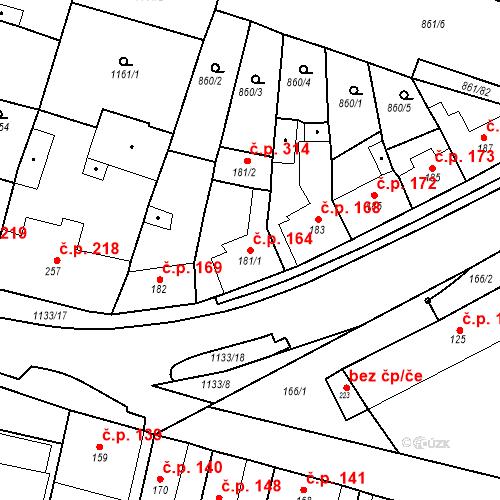 Katastrální mapa Stavební objekt Byšice 164, Byšice