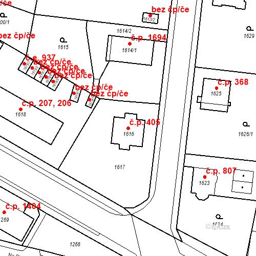 Katastrální mapa Stavební objekt Česká Lípa 405, Česká Lípa