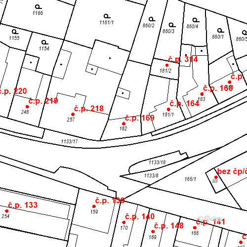 Katastrální mapa Stavební objekt Byšice 169, Byšice