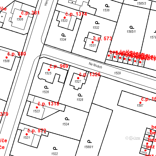 Katastrální mapa Stavební objekt Česká Lípa 1326, Česká Lípa