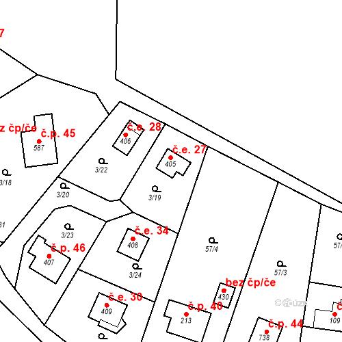 Katastrální mapa Stavební objekt Dolní Lomnice 27, Kunice