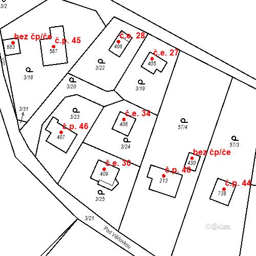 Katastrální mapa Stavební objekt Dolní Lomnice 34, Kunice
