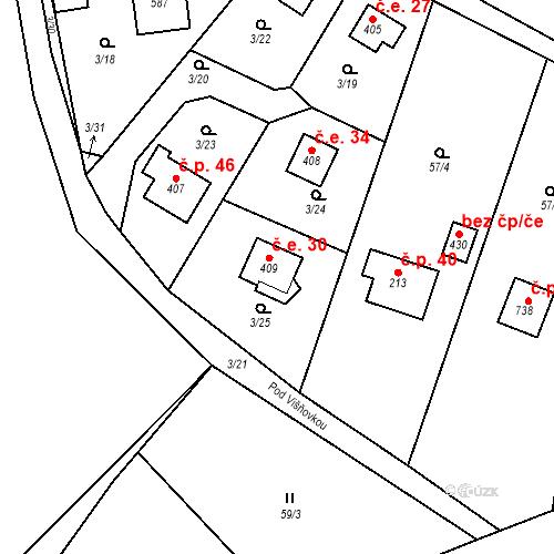 Katastrální mapa Stavební objekt Dolní Lomnice 30, Kunice