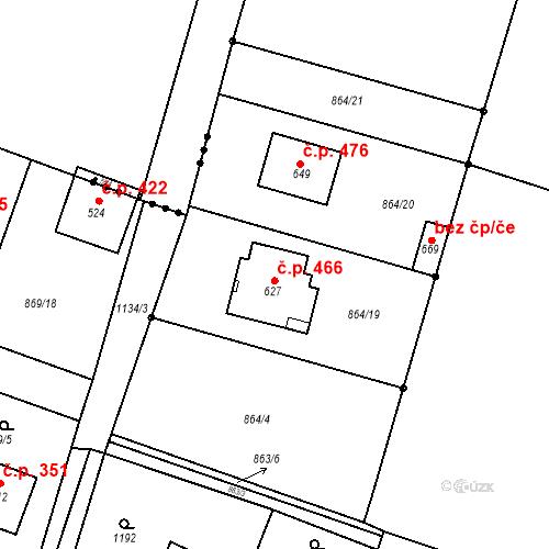 Katastrální mapa Stavební objekt Byšice 466, Byšice
