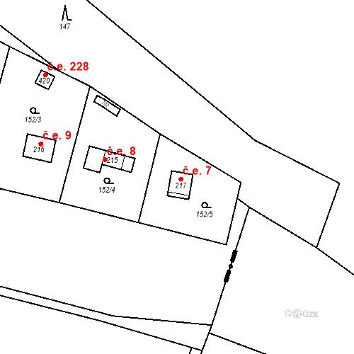 Katastrální mapa Stavební objekt Dolní Lomnice 7, Kunice