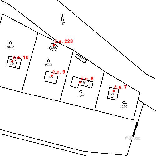 Katastrální mapa Stavební objekt Dolní Lomnice 8, Kunice