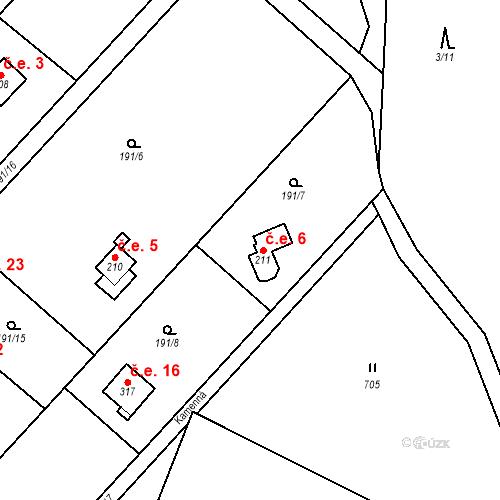 Katastrální mapa Stavební objekt Dolní Lomnice 6, Kunice