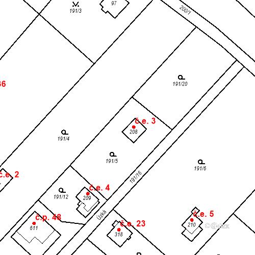 Katastrální mapa Stavební objekt Dolní Lomnice 3, Kunice