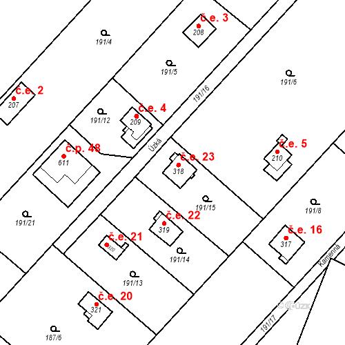 Katastrální mapa Stavební objekt Dolní Lomnice 23, Kunice
