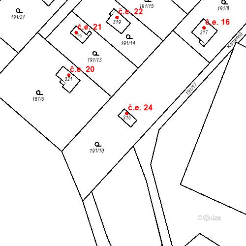 Katastrální mapa Stavební objekt Dolní Lomnice 24, Kunice
