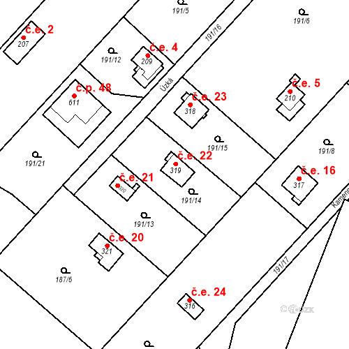Katastrální mapa Stavební objekt Dolní Lomnice 22, Kunice