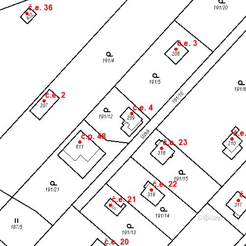 Katastrální mapa Stavební objekt Dolní Lomnice 4, Kunice
