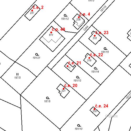 Katastrální mapa Stavební objekt Dolní Lomnice 21, Kunice