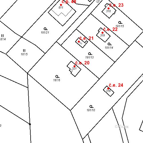 Katastrální mapa Stavební objekt Dolní Lomnice 20, Kunice