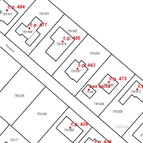 Katastrální mapa Stavební objekt Koloděje 443, Praha