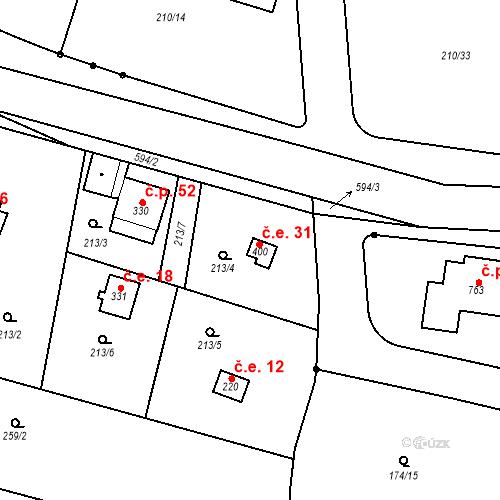 Katastrální mapa Stavební objekt Dolní Lomnice 31, Kunice