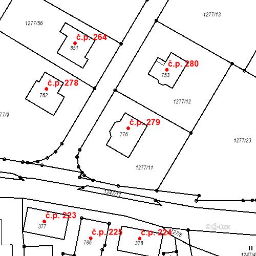 Katastrální mapa Stavební objekt Mrač 279, Mrač